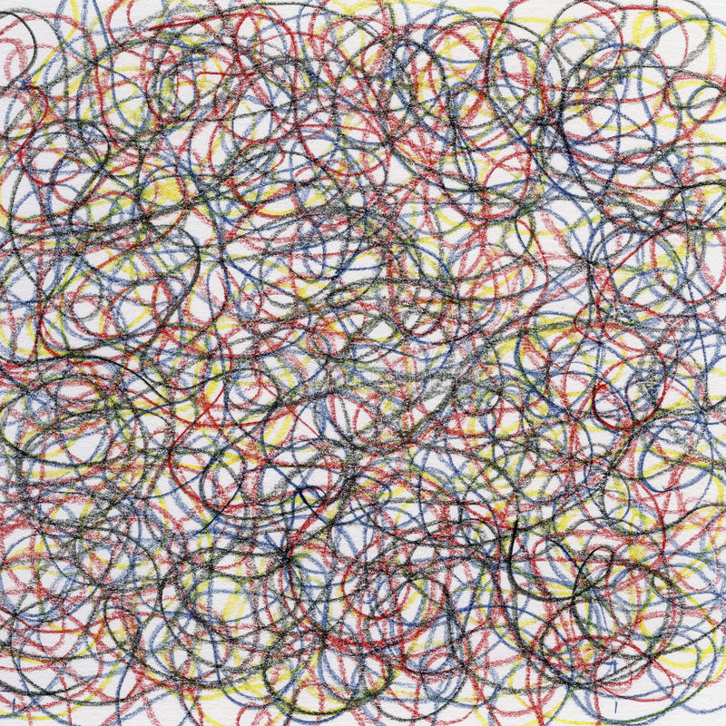 Crayon Scribble Drawing : Chaotic crayon scribble stock illustration