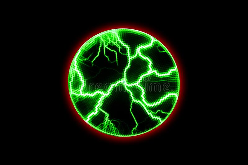 Chaotic electrical discharges on a black background. Green glowing lightning in a circle. Magical light effect royalty free stock images