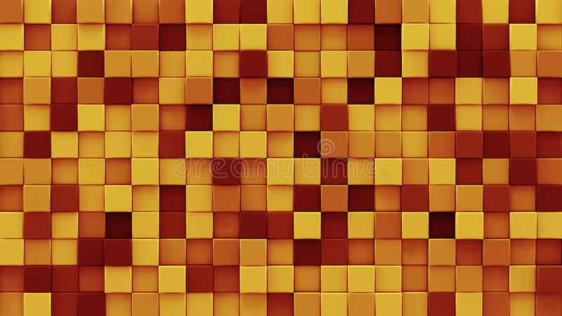Chaotic extruded orange cubes 3D render stock illustration