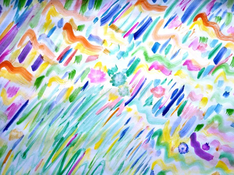 Chaotic joy abstract. Colorful Imagination with watercolor abstract royalty free stock image