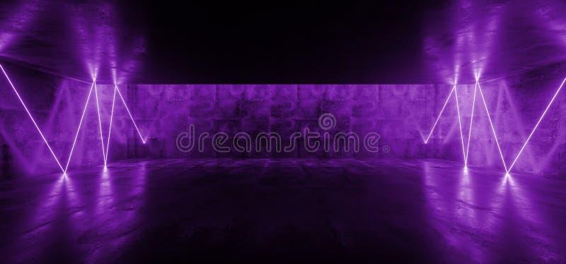 Chaotic Laser Fluorescent Retro Sci Fi Futuristic Neon Glowing Purple Cyber Luminous Vibrant Lights In Dark Empty Stage Show. Underground Garage Room Hall stock illustration