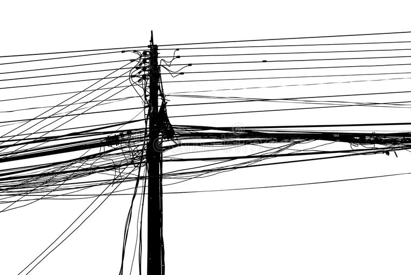 Chaotic mess of a wires on a pillar. On white background royalty free stock photo
