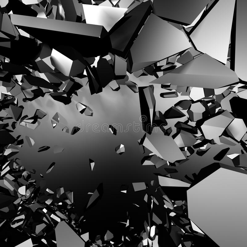Chaotic metallic fragments of destruction explosion wall. Abstract background royalty free illustration
