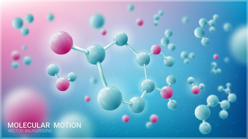 Molecules in motion. Luminous atoms. Blurred blue background. Vector illustration on a theme of medicine, science, technology. Chaotic particles. Vector stock illustration