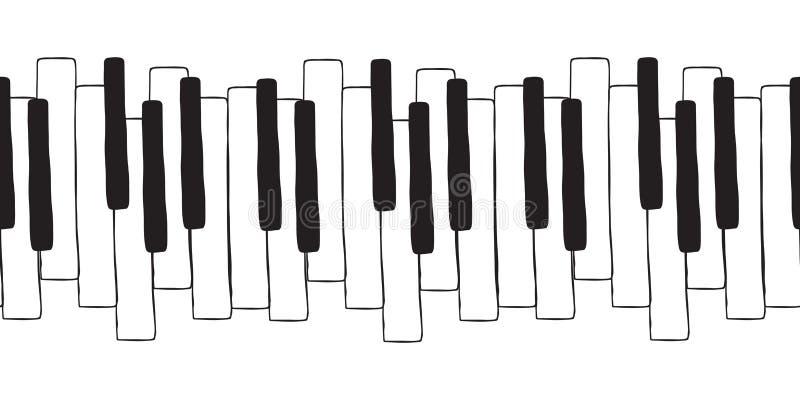 Chaotic Pianoforte musical octavernas para piano, desenho Padrão de rabiscos sem costura vetorial com piano desenhado à mão, crav ilustração stock