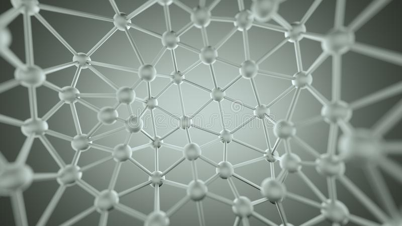 Chaotic plexus structure with lines and spheres 3D rendering stock illustration