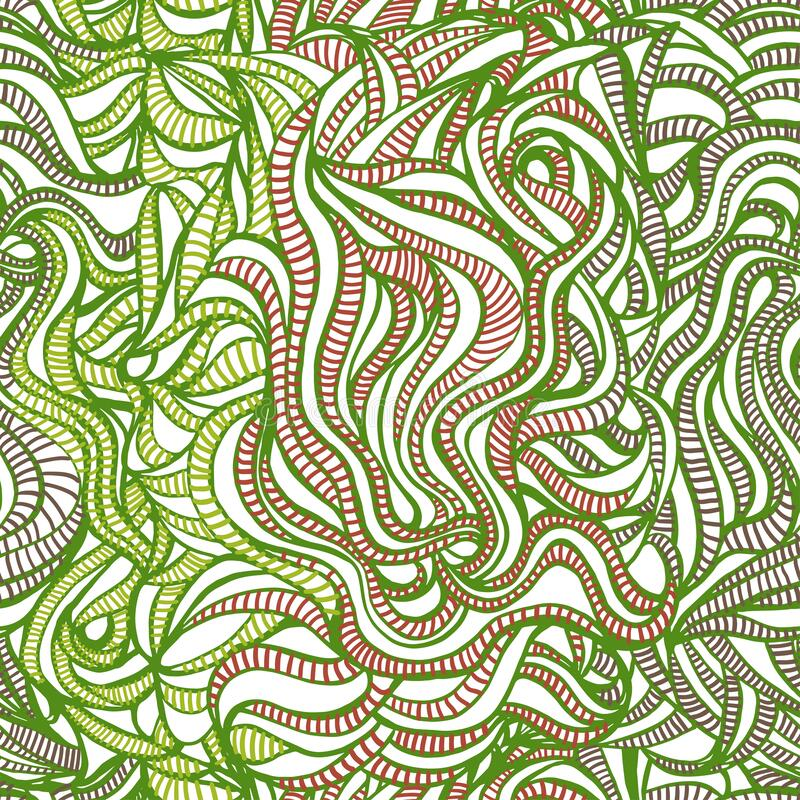 Chaotic smooth striped lines on a white background in terracotta and green royalty free illustration