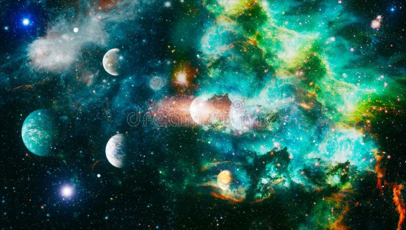 Chaotic space background. planets, stars and galaxies in outer space showing the beauty of space exploration. Elements furnished. Planets, stars and galaxies in stock photo
