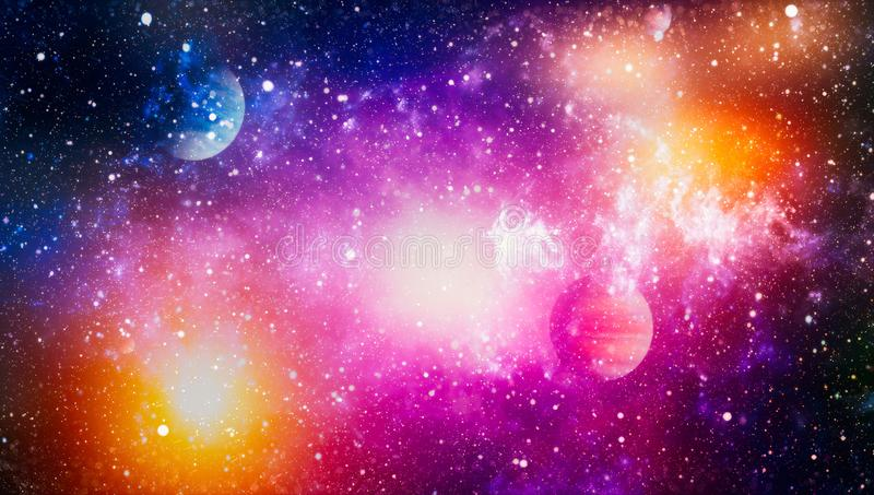 Chaotic space background. planets, stars and galaxies in outer space showing the beauty of space exploration. Elements furnished. Planets, stars and galaxies in royalty free stock photography