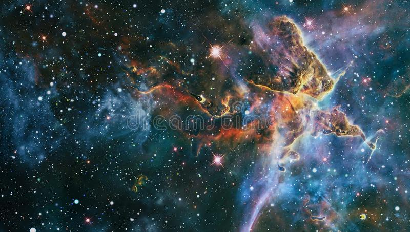 Chaotic space background. planets, stars and galaxies in outer space showing the beauty of space exploration. Elements furnished. Planets, stars and galaxies in stock photography