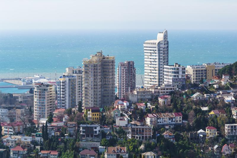 Chaotic various buildings of the Central part of the resort town. The view from the top. Russia, Krasnodarskiy Kray, Sochi - March 09.2018: Chaotic various royalty free stock photos