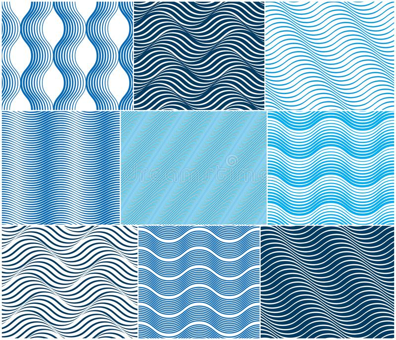 Chaotic waves seamless pattern, vector curve abstract repeat tiling background, blue color rhythmic waves. Chaotic waves seamless pattern, vector curve lines stock illustration