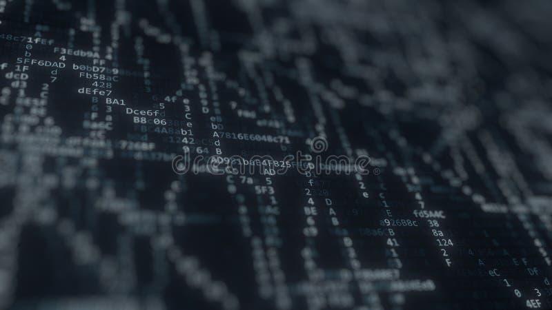 Chaotically błysnąć komputerowych symbole na ekranie świadczenia 3 d ilustracji