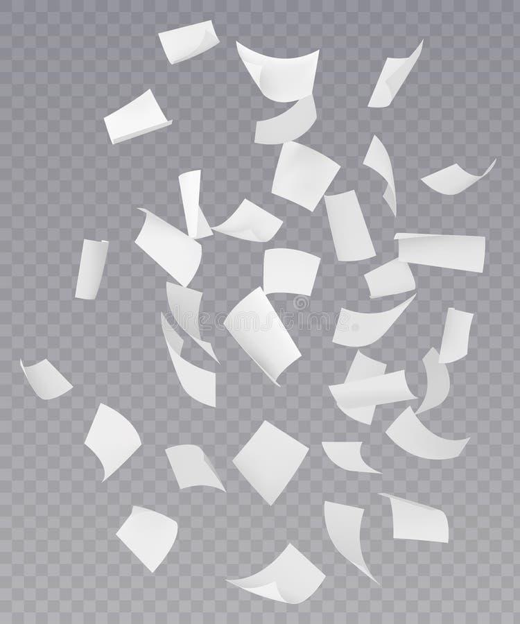 Chaotische fallende Fliegen-Papierblätter lizenzfreie abbildung
