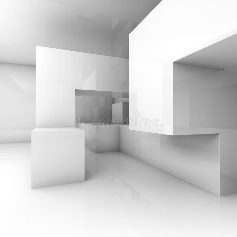 Chaotische geometrische structuur in lege ruimte 3d geef terug stock illustratie