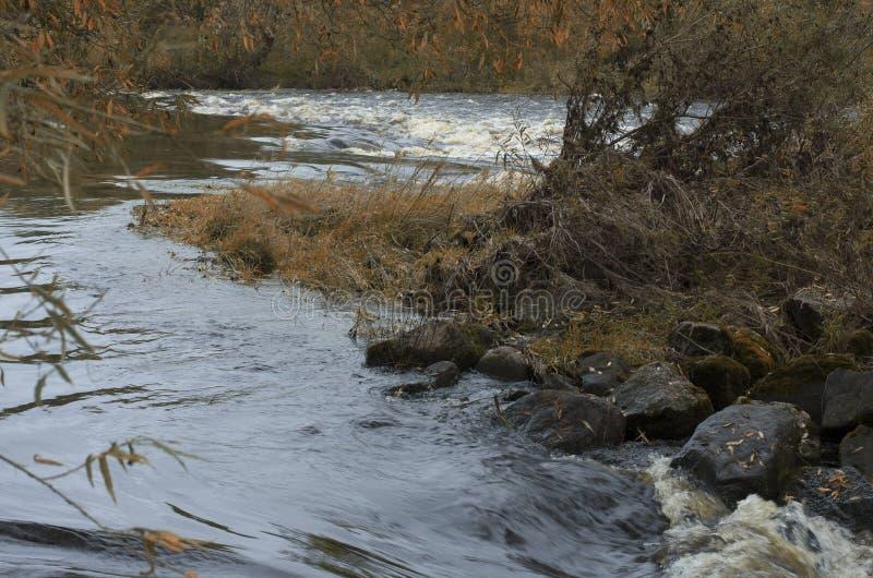 Chaotische Herbstlandschaft mit dem Fluss lizenzfreie stockfotos