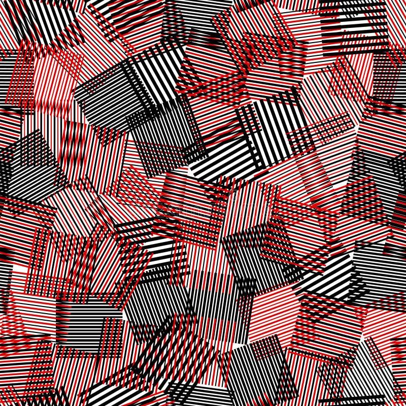 Chaotische Quadrate nahtloses Muster, Vektor der schwarzen weißen roten gestreiften Quadrate lizenzfreie abbildung
