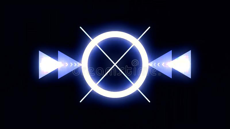 Chaotische selectie van abstracte kaders op discothema, achtergrond voor dans en muziek scène Futuristische screensaver en vector illustratie