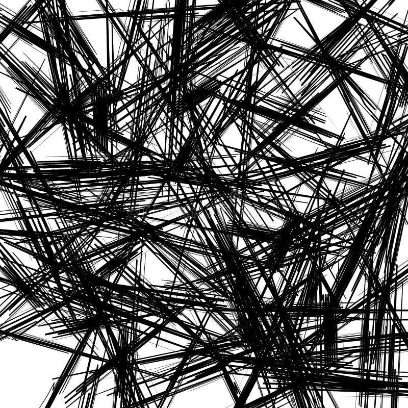 Chaotische textuur met zigzaglijnen Ruw willekeurig patroon stock illustratie