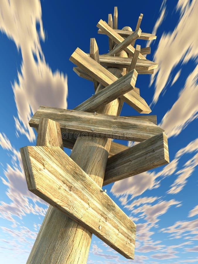 Chaotischer Signalpfosten lizenzfreie abbildung