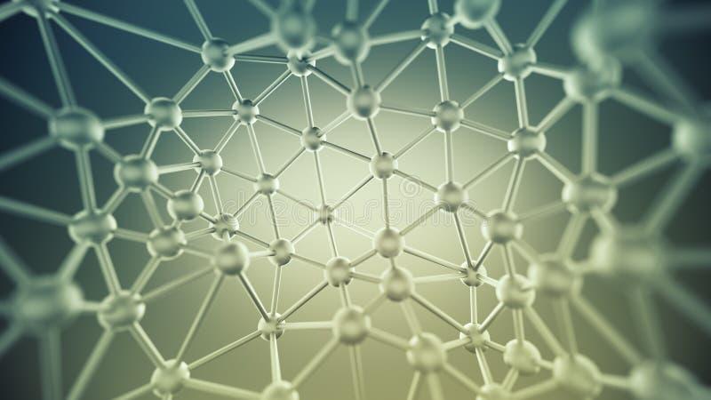 Chaotyczna plexus struktura z liniami i sfer 3D renderingiem royalty ilustracja