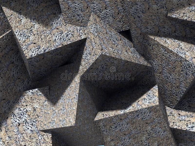 Chaotyczny betonowy sześcianów bloków architektury ściany tło ilustracja wektor