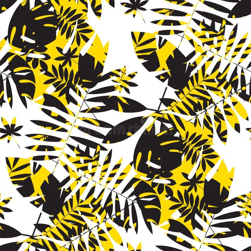 Chaotyczny koloru żółtego i czerni lata bezszwowy wzór royalty ilustracja
