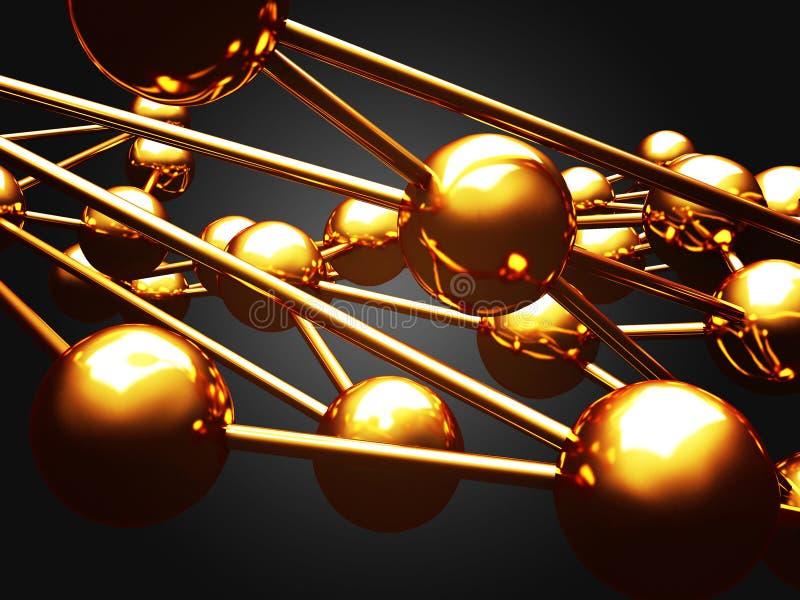 Chaotyczny złoty kul ziemskich sfer abstrakta tło ilustracja wektor