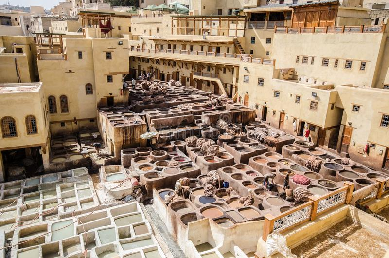 Chouara Tannery, Fez, Morocco. The Chaouwara tanneries are one of the city's most iconic sights and smells, offering a unique window into the pungent royalty free stock photos