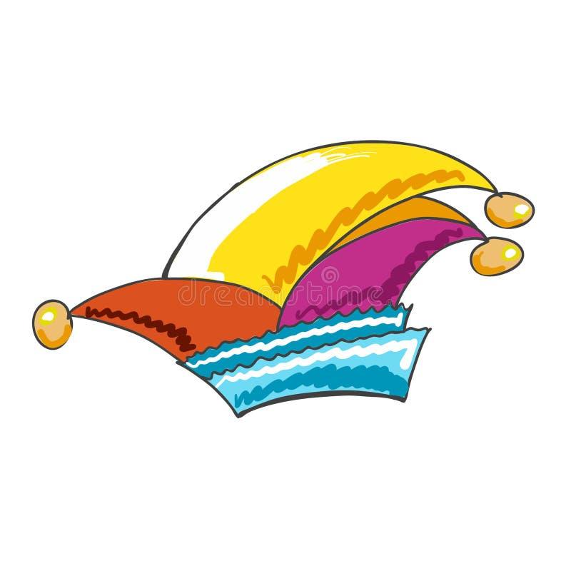 Chapéu alemão esboçado colorido do carnaval ilustração stock
