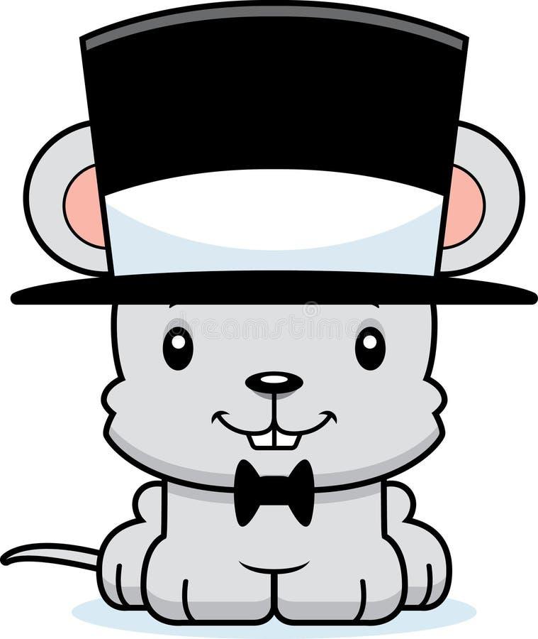 Chapéu alto de sorriso do rato dos desenhos animados ilustração do vetor