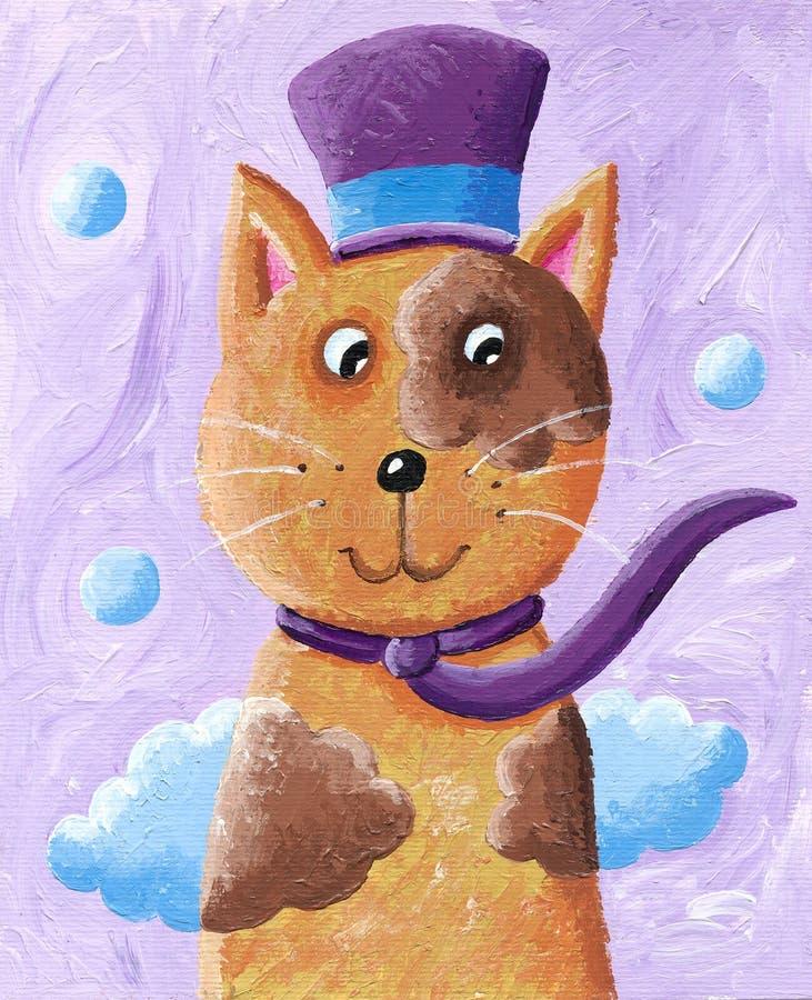 Chapéu alto vestindo do gato engraçado ilustração royalty free