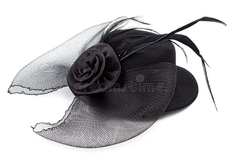 Chapéu antigo preto das senhoras isolado fotografia de stock