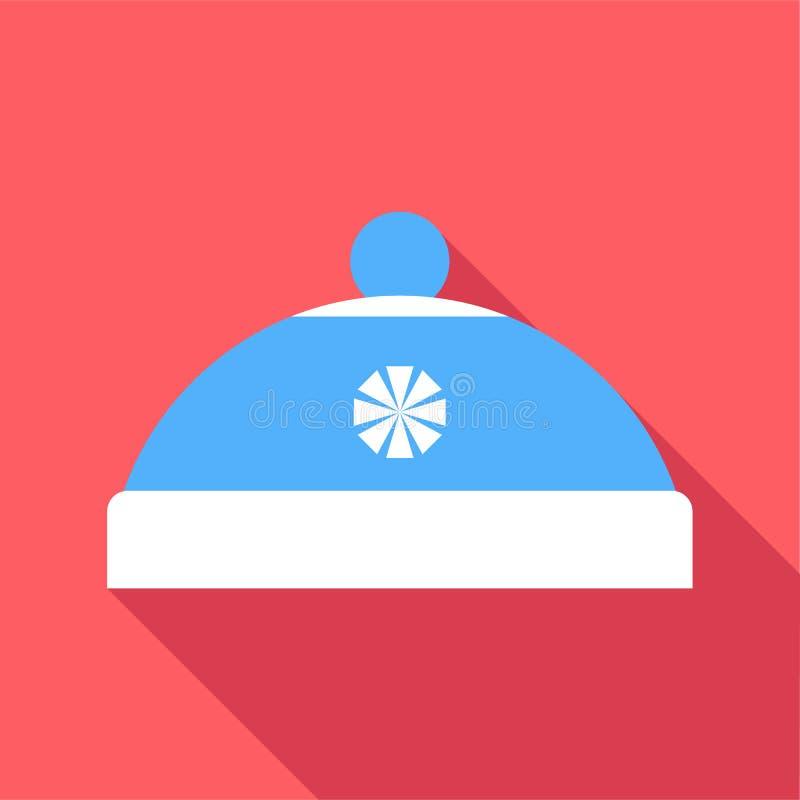Chapéu azul com ícone do pompom, estilo liso ilustração do vetor