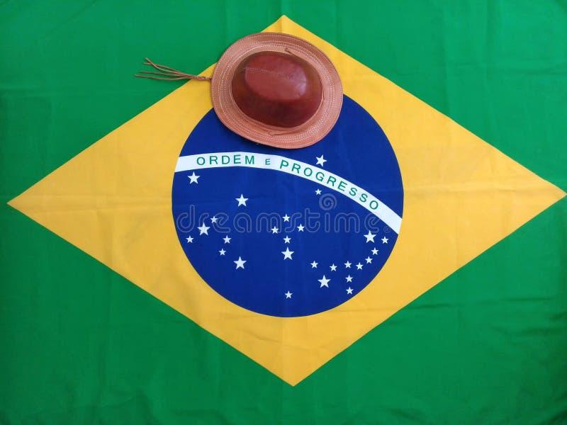 Chapéu característico da região do nordeste de Brasil e de bandeira brasileira imagens de stock