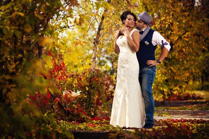 Chapéu, casamento, beijo fotografia de stock royalty free