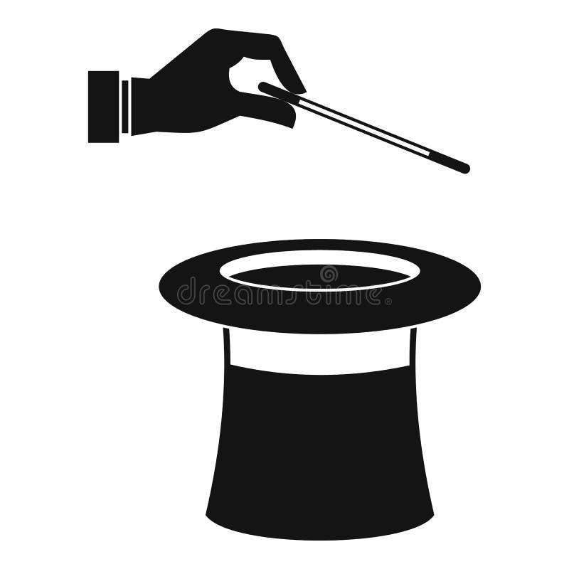 Chapéu com ícone da mão, estilo simples ilustração stock