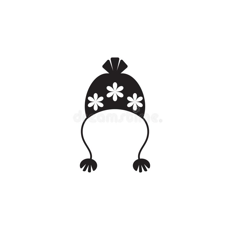 Chapéu com ícone do pompom ilustração stock