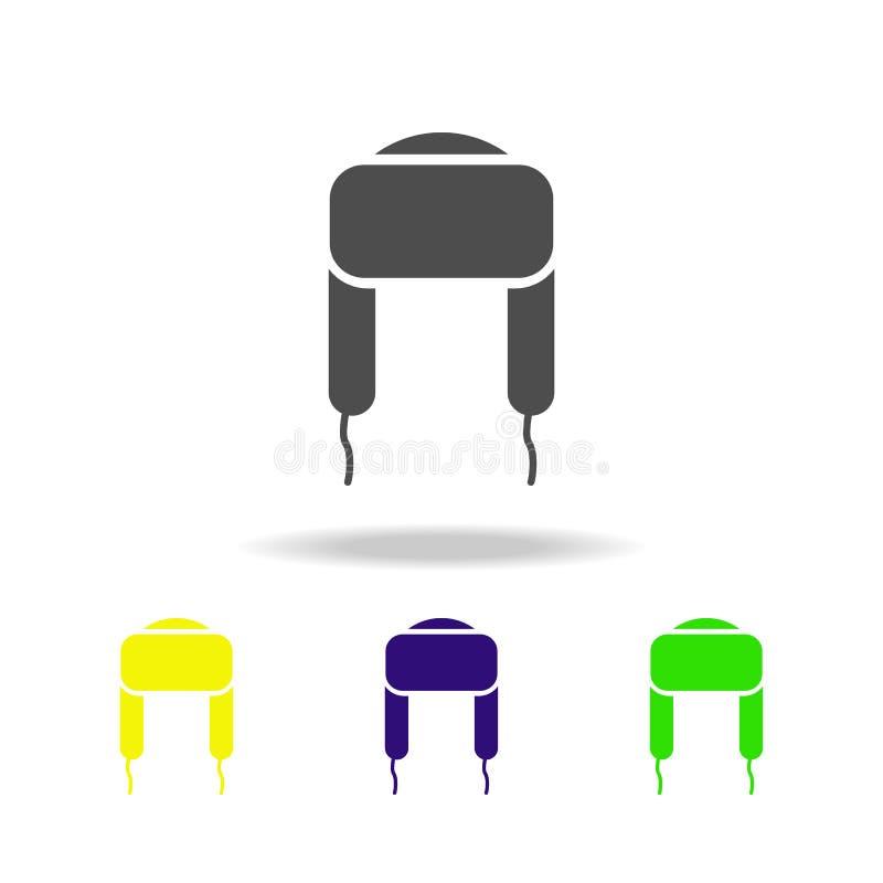chapéu com aletas da orelha, ícones coloridos da forma Pode ser usado para a Web, logotipo, app móvel, UI, UX ilustração stock
