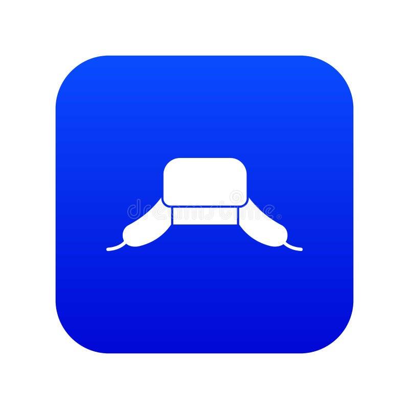 Chapéu com o azul digital do ícone das aletas da orelha ilustração stock