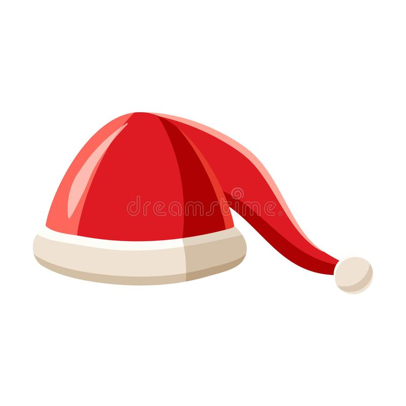 Chapéu com o pompom do ícone de Santa Claus, estilo dos desenhos animados ilustração do vetor