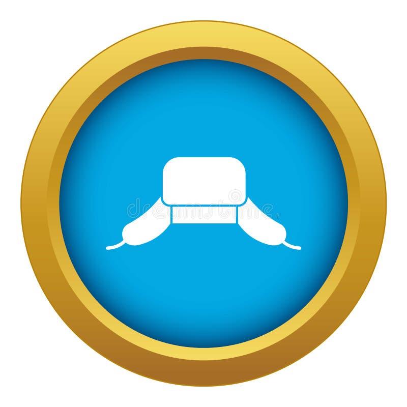 Chapéu com vetor azul do ícone das aletas da orelha isolado ilustração do vetor