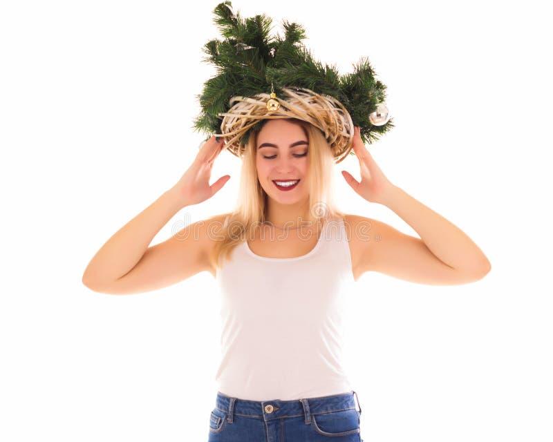 Chapéu da árvore de Natal, menina bonita, isolada fotografia de stock royalty free