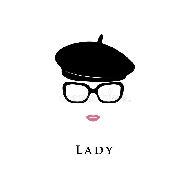 Chapéu da boina Senhora no chapéu negro e nos vidros ilustração stock