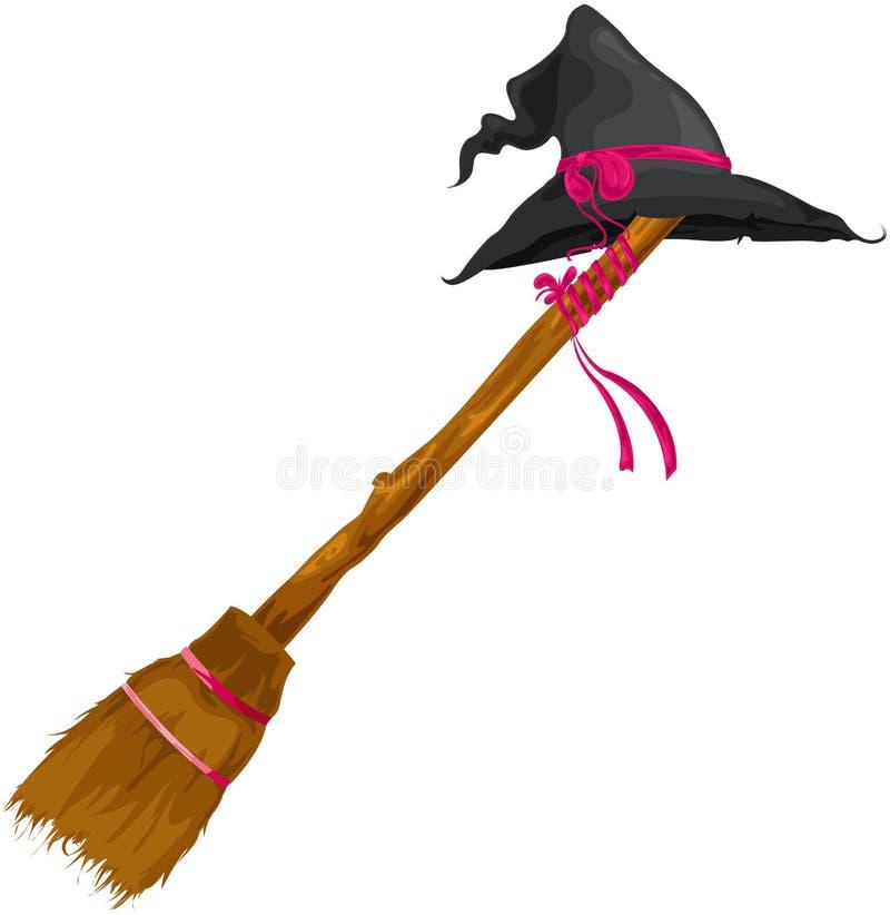 Chapéu da bruxa com vassoura ilustração royalty free