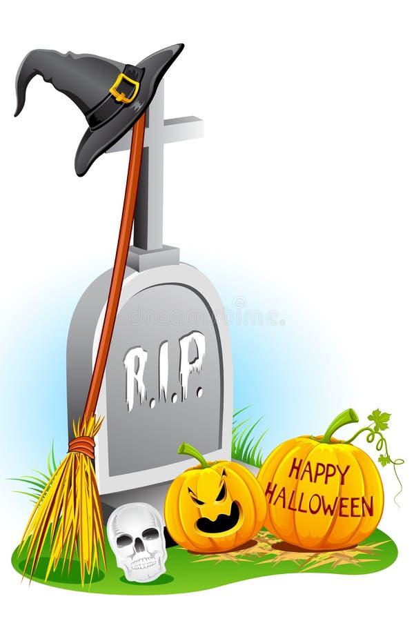 Chapéu da bruxa de Halloween com abóbora ilustração stock