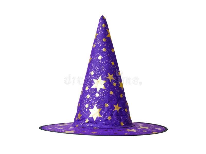 Chapéu da bruxa ou do feiticeiro decorado com as estrelas isoladas imagens de stock royalty free