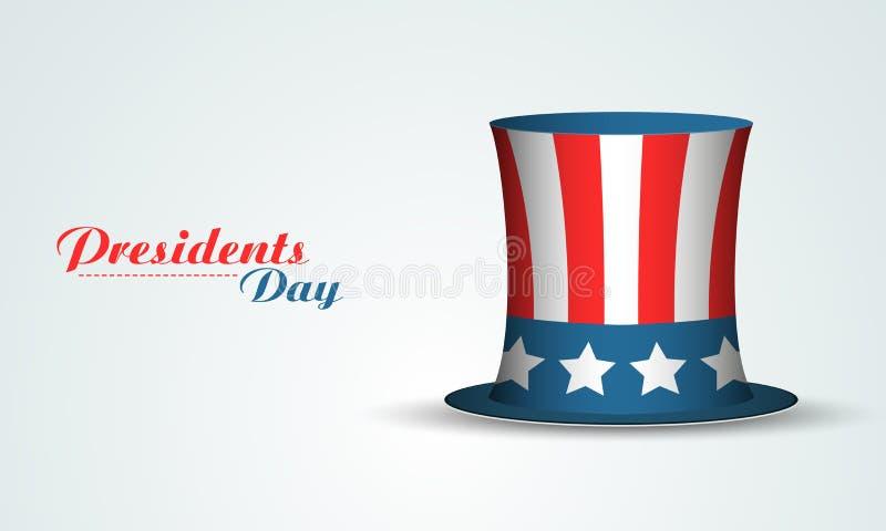 Chapéu da cor da bandeira dos EUA para a celebração dos presidentes Dia ilustração do vetor