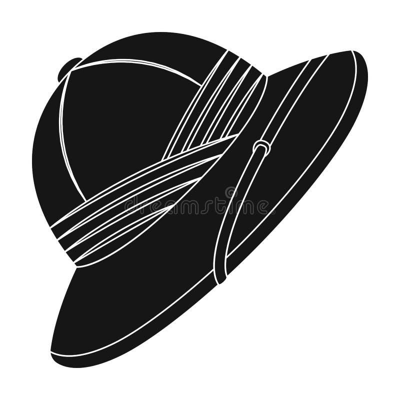 Chapéu da cortiça do sol Único ícone do safari africano na Web preta da ilustração do estoque do símbolo do vetor do estilo ilustração royalty free