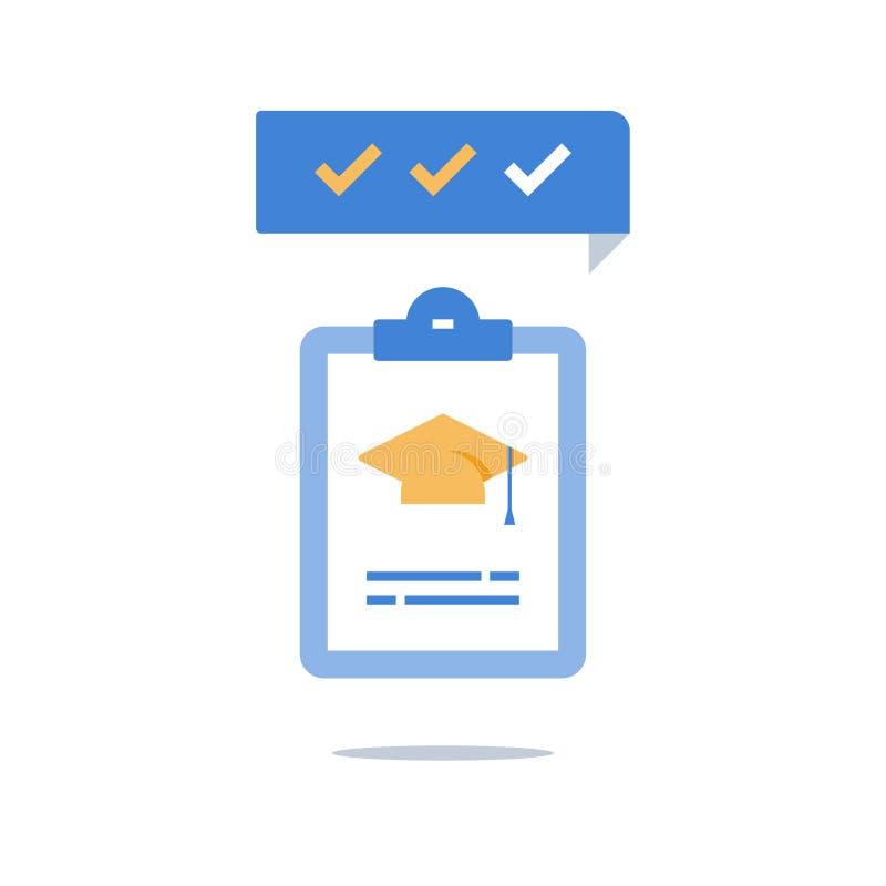 Chapéu da graduação e prancheta, programa educativo, conhecimento da verificação, preparação do exame, registro grosseiro de form ilustração do vetor